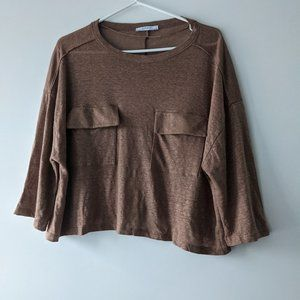 Zara Oversize Pocket Cropped Tee Brown Size Small